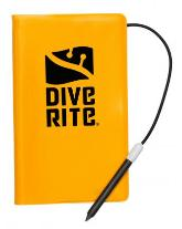Dive wRite Notebook AC2062 | Dive wRite Notebook is a 45-page notebook that is waterproof and reusable. It comes with a solid, carbon-stick pencil attached by a lanyard and is small enough to be carried in a pocket. | Dive Slates