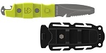 Gear Aid Akua Knife | Whether you're diving the reefs or paddling the river, the Akua rescue knife attaches easily and securely to your PFD, boat deck, or BCD. When the situation arises, quickly release the knife, and cut your way free with the serrated blade, or notify your dive partner with the rounded tank banger. The blunt tip won't puncture inflatables, and works as a pry tip for digging into some shellfish. Be ready for adventure with a sturdy cutting tool at your fingertips.