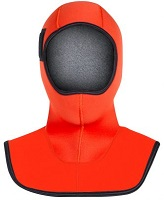 Henderson Rescue Swimmer Hood | The generous bib area of the Rescue Swimmer Hood helps eliminate any gaps at the neck and shoulders where water exchange is so common, yet the Hyperstretch neoprene allows for optimal flexibility and very little squeeze. A dual density design, the combination of 5mm and 7mm thicknesses makes this hood a great choice for colder waters. Reflective Solas panels and International Orange color insure maximum visibility. This wetsuit has been chosen for use as replacement and original issue by the USCG ( U.S. Coast Guard ) Helicopter Rescue Swimmer Program. | CGFH65N | Made in the USA