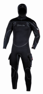 Hollis NeoTek Semidry | Constructed from a compression resistant 8/7/6mm neoprene and a Hollis exclusive ThermaSkin inner liner. Includes a front neckdam with revolutionary GLock horizontal front zipper for easy on/off and a tight barrier against water intrusion.