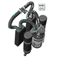 "The PRISM 2 is an electronically or manually controlled, constant PO2, modular, closed circuit diving system. A rebreather recycles rather than vents the exhaled breath. The exhaled breath passes into a closed loop, where it is pushed through a chemical absorbent (scrubber) to remove the carbon dioxide, and returns through the other side of the loop for the diver to re-breathe, hence the name ""closed circuit rebreather"" or CCR."