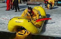 Oceanid inflatable rescue craft | The Rapid Deployment Craft is simply the best, fast-response, ice rescue craft available at any price. The craft surrounds one or more rescuers in an ultra buoyant and protective inflated perimeter.