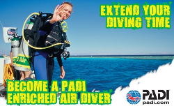 PADI Enriched Air Diver Specialty course | The PADI Enriched Air Diver course is PADI's most popular specialty scuba diving course, and it's easy to see why. Scuba diving with enriched air nitrox gives you more no decompression dive time. This means more time underwater, especially on repetitive scuba dives.